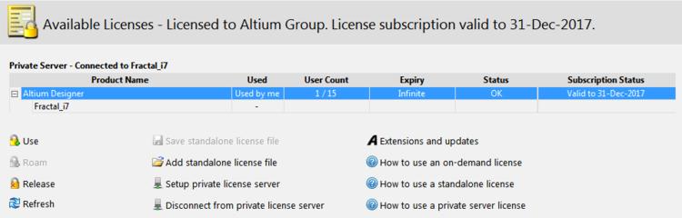 Altium Available Licenses