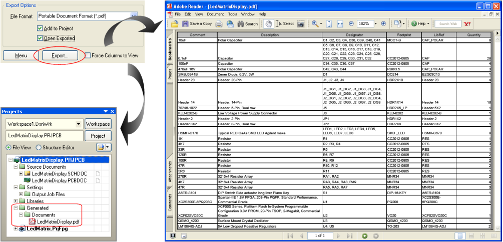 export application and attachment to pdf