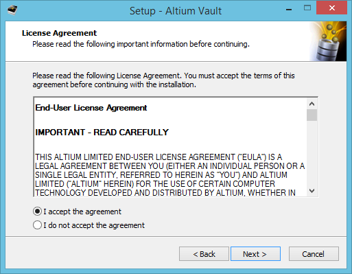 Installing the Altium Vault – End User License Agreement Template