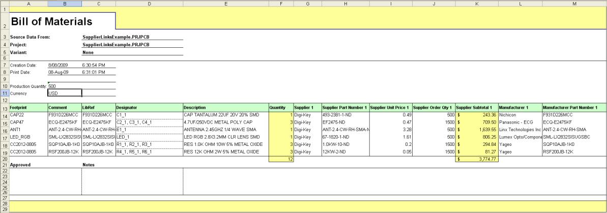 Bom Template Excel