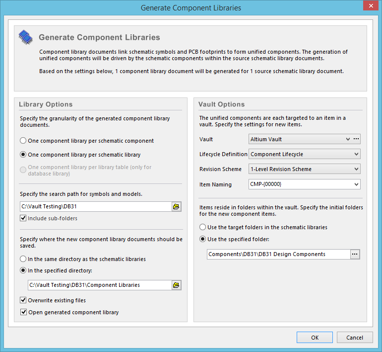 The Generate Component Libraries dialog - command central for creating one  or more CmpLibs from the active SchLib.