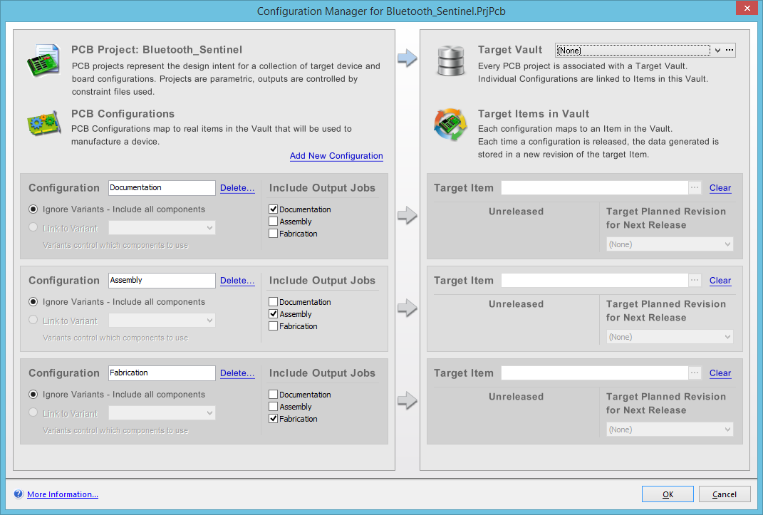 All definition and management of configurations for a PCB project is  performed from within the Configuration Manager dialog (Project »  Configuration ...