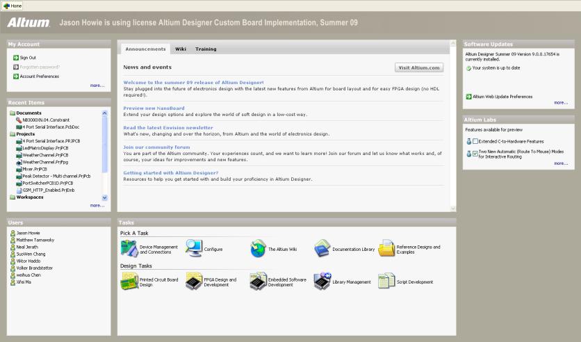 Example content on Altium Designer's Home page.