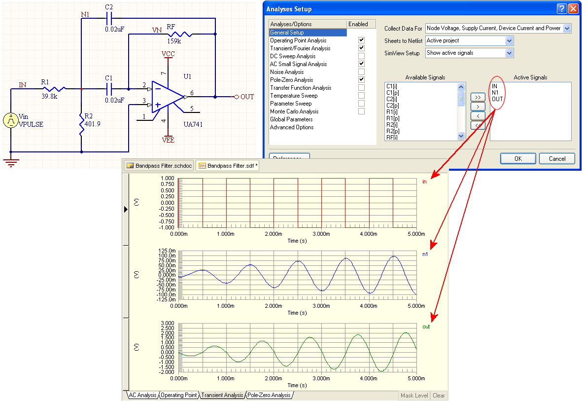 Waveform Analysis In Altium Designer Online Documentation For Labeled Sine Wave Diagram Each Active Signal Is Displayed Its Own Plot